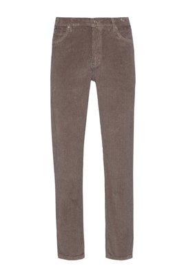 Jeans con fit affusolato in velluto a coste di cotone elasticizzato sovratinto, Marrone chiaro