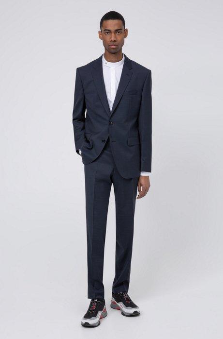 Filigran gemusterter Regular-Fit Anzug aus Schurwolle, Dunkelblau