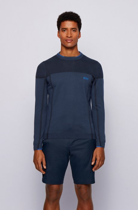 Cotton-blend sweater with contrast tipping, Dark Blue