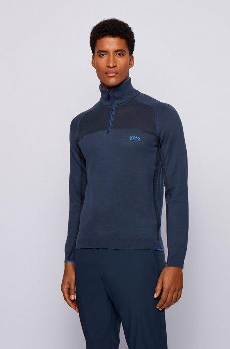 Zip-neck sweater in an organic cotton blend, Dark Blue