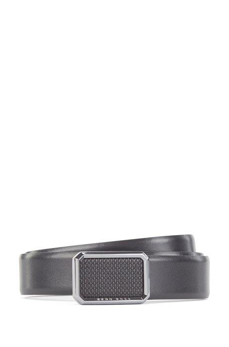 Italian-leather belt with monogram-embossed buckle, Black
