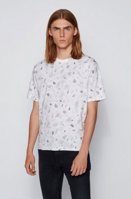 Melange-cotton T-shirt with all-over print, White