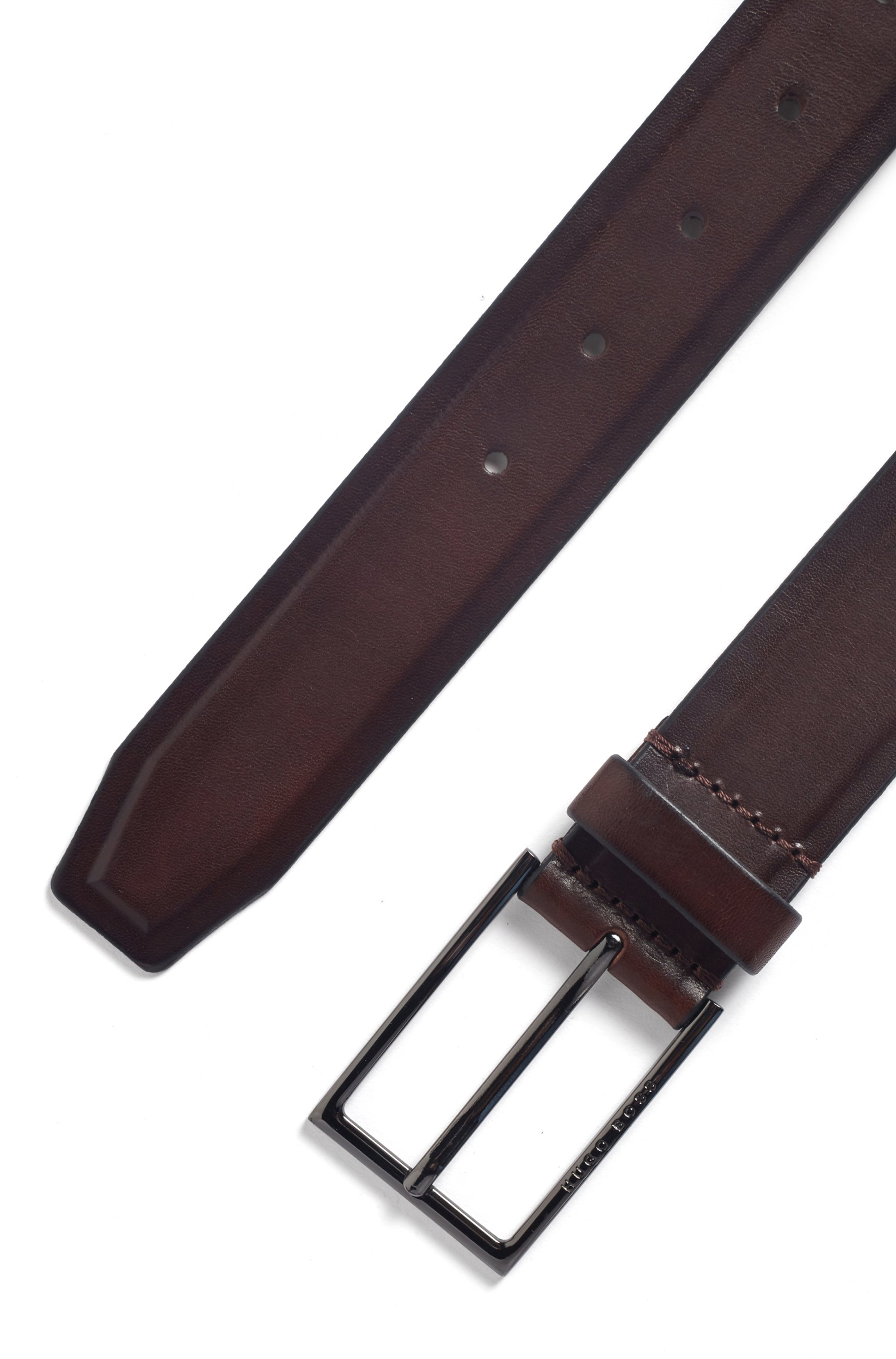 Italian-made belt in tanned leather with border detail