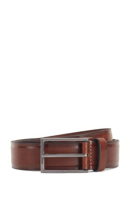 Italian-made belt in tanned leather with border detail, Brown