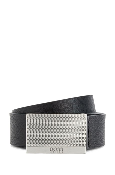 Cinturón de piel curtida y hebilla de placa con monograma, Negro