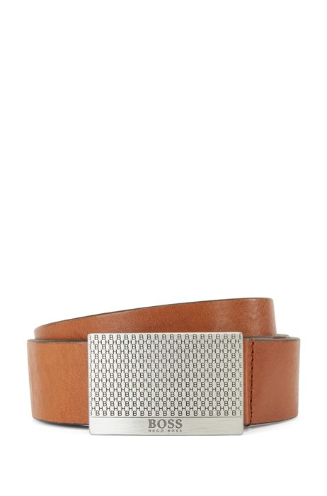 Tanned-leather belt with monogram plaque buckle, Brown
