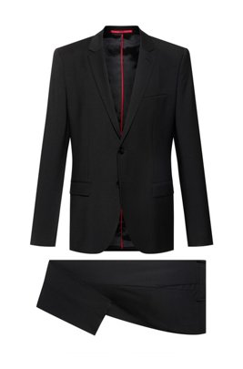 Extra-slim-fit suit in a wool blend, Black