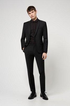 Extra slim-fit pak van een wolmix, Zwart