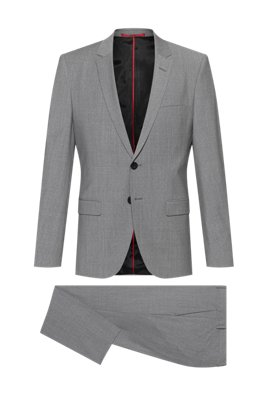 Extra-slim-fit suit in a wool blend, Grey