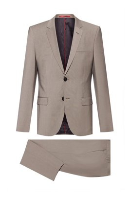 Extra-slim-fit suit in a wool blend, Light Brown