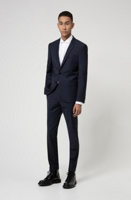 Extra-slim-fit suit in a wool blend, Dark Blue
