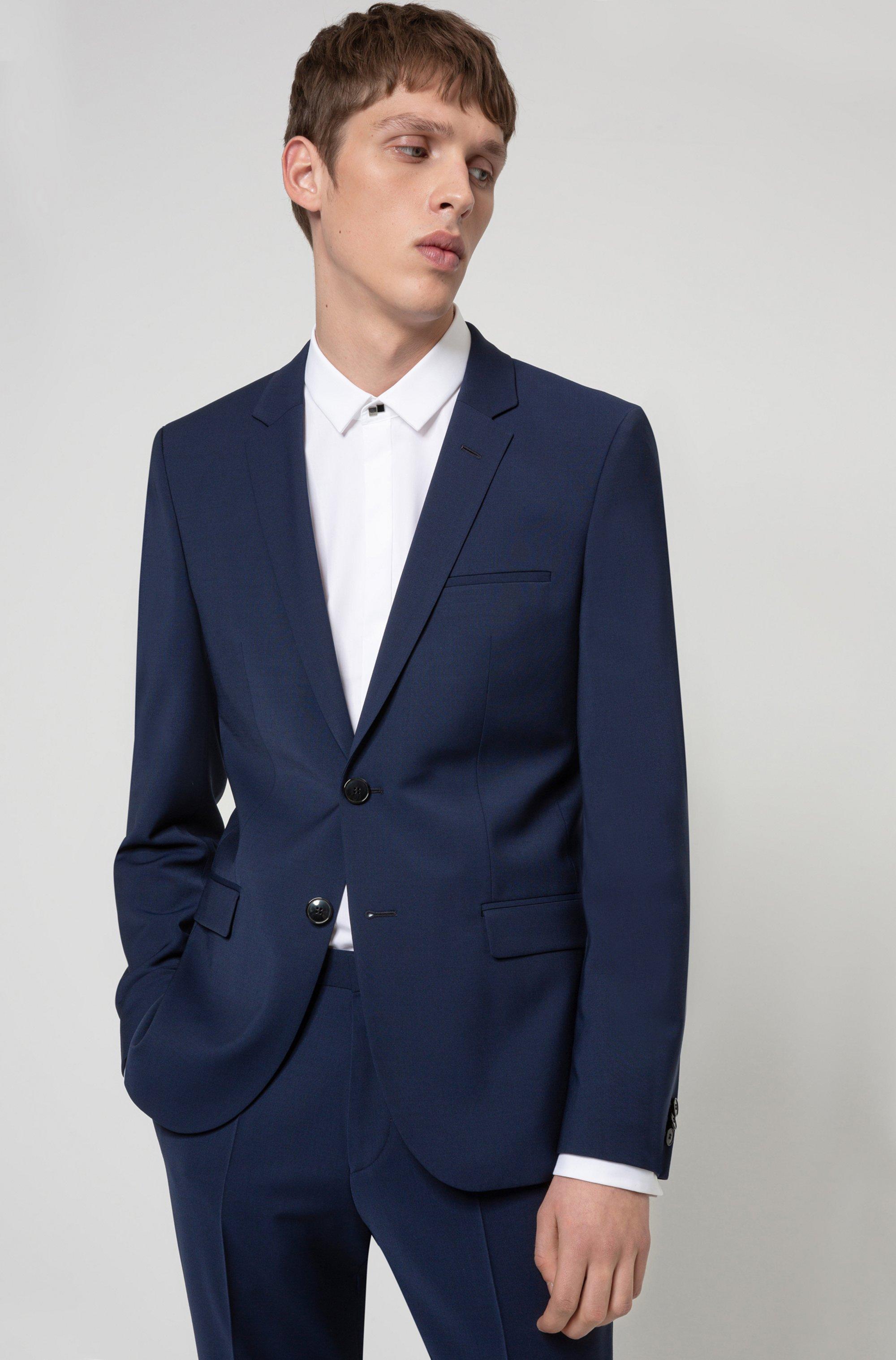 Costume Extra Slim Fit en laine mélangée, Bleu