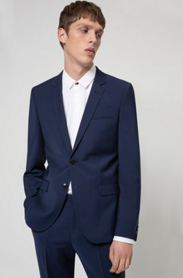 Extra-slim-fit suit in a wool blend, Blue