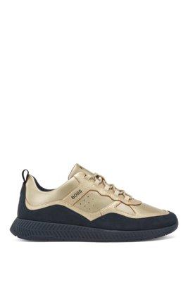 Ledersneakers mit Metallic-Overlays, Gold