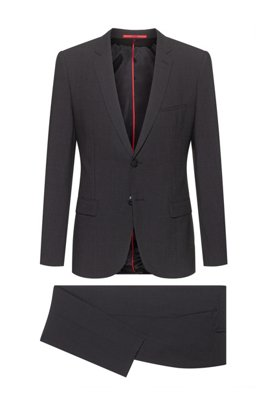 Extra-slim-fit suit in a super-flex wool blend, Dark Grey