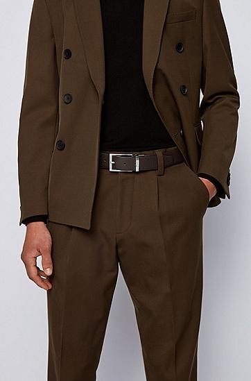 浮雕图案皮革腰带,  202_暗棕色