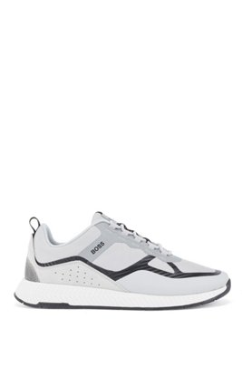 Hybrid trainers with suede overlays, Light Grey