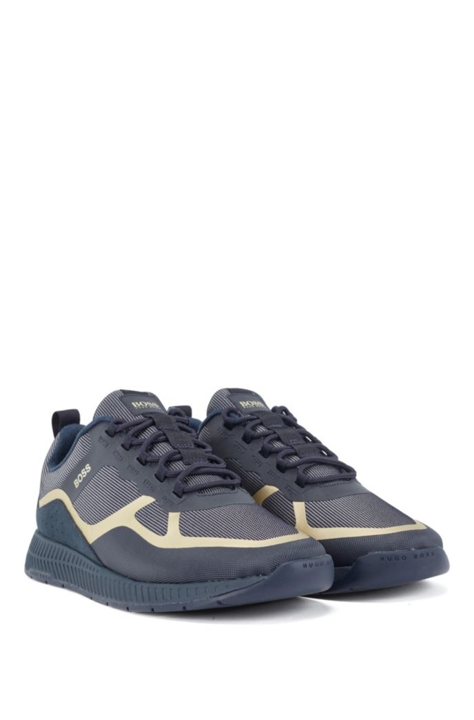 Hybrid trainers with suede overlays