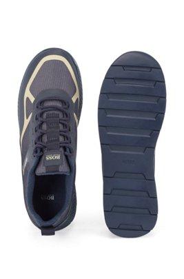 Sneakers ibride con rivestimenti in pelle scamosciata, Blu scuro