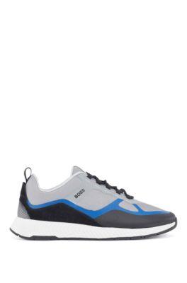 Hybride sneakers met suède overlays, Lichtblauw