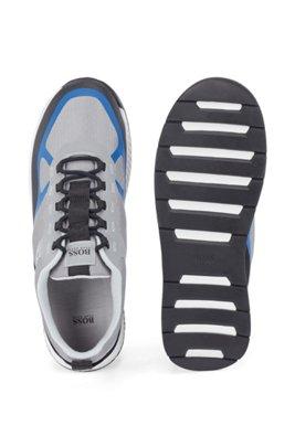 Hybrid-Sneakers mit Veloursleder-Overlays, Hellblau