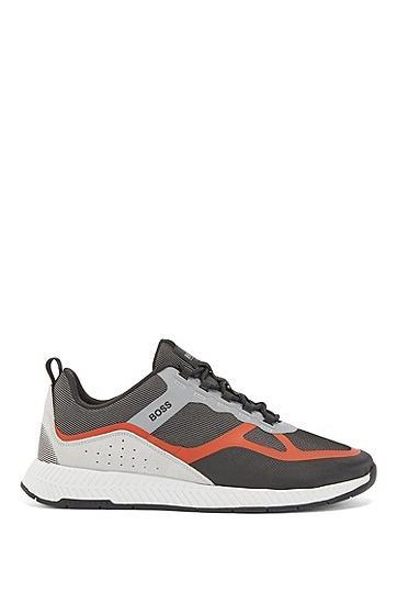 麂皮鞋面混搭运动鞋,  840_淡橙色