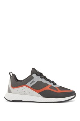 Hybrid trainers with suede overlays, Light Orange