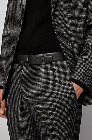 牌扣双面意大利皮革腰带,  001_黑色