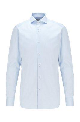 Slim-fit overhemd van Italiaanse katoen met microstructuur, Lichtblauw