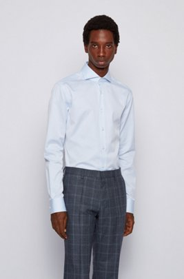 Slim-fit shirt in micro-structured Italian cotton, Light Blue