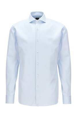 Slim-fit shirt in structured Italian cotton, Light Blue