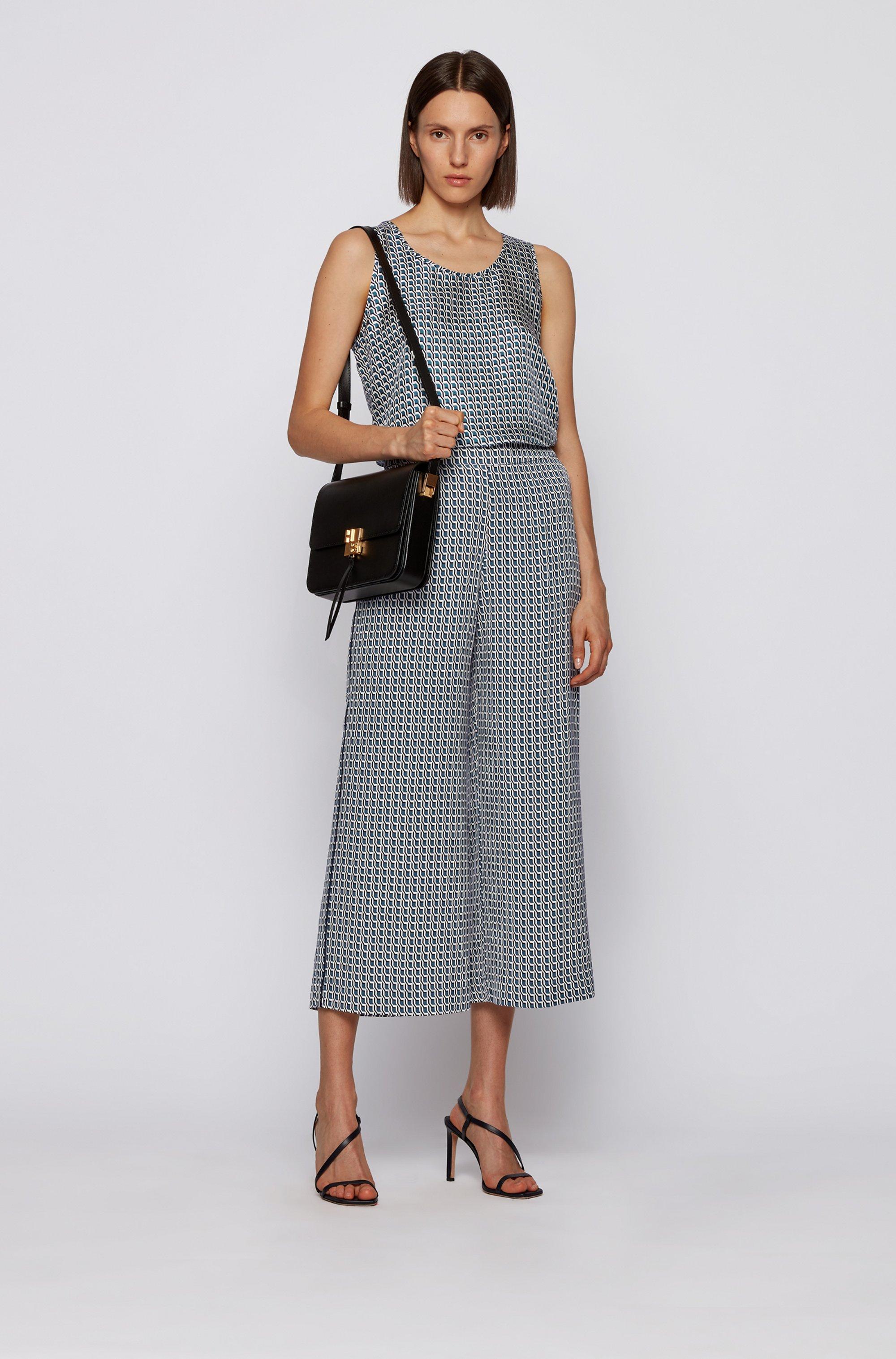 Pantalon large coupe courte en twill à imprimé géométrique
