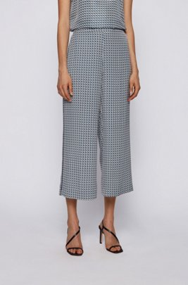 Wide-leg cropped trousers in geometric-print twill, Patterned