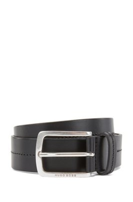 Italian-made belt in smooth leather with tonal stitching, Black