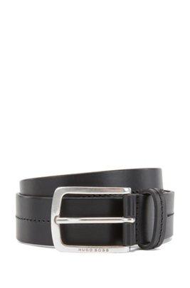 Cintura in pelle liscia realizzata in Italia con impunture tono su tono , Nero