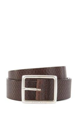 Monogram-embossed belt in tanned Italian leather, Dark Brown