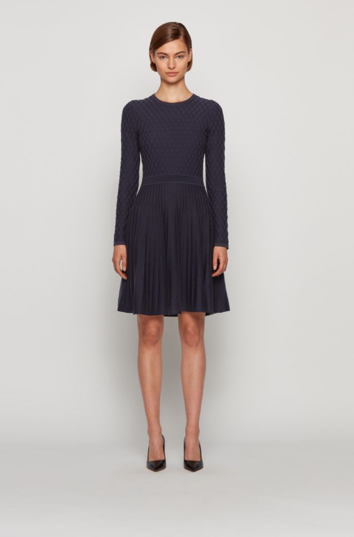 Mixed-structure knitted dress in cotton with silk