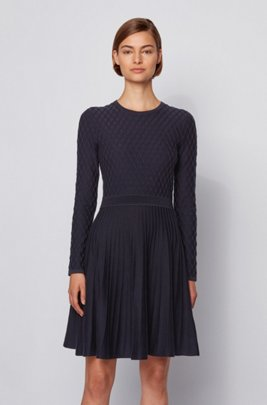 Mixed-structure knitted dress in cotton with silk, Dark Blue