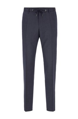 Slim-fit trousers in striped virgin wool, Dark Blue