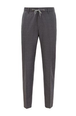 Slim-fit trousers in stretch wool with drawstring waist, Grey