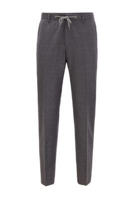 Pantalon Slim Fit en laine stretch avec taille à cordon de serrage, Gris