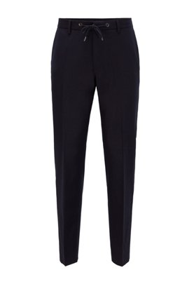 Pantaloni slim fit in lana elasticizzata con coulisse in vita, Blu scuro
