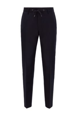 Slim-fit trousers in stretch wool with drawstring waist, Dark Blue