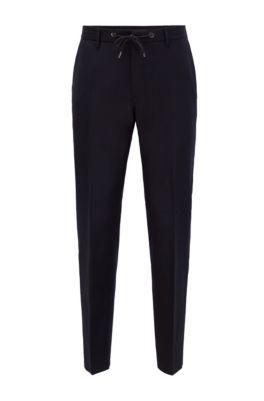 Slim-Fit Hose aus Stretch-Wolle mit Tunnelzugbund, Dunkelblau