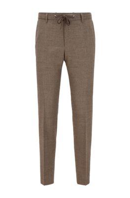 Slim-Fit Hose aus Stretch-Wolle mit feinem Hahnentritt-Muster, Khaki