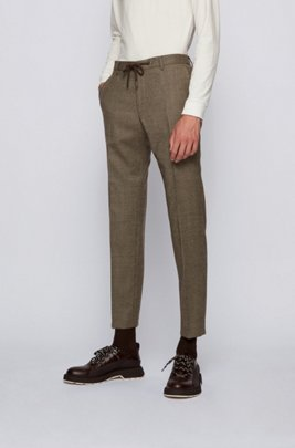Slim-fit stretch-wool trousers with houndstooth micro pattern, Khaki