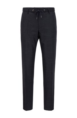 Pantaloni slim fit in misto lana mélange, Blu scuro