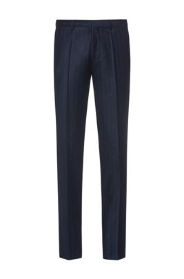 Extra-slim-fit trousers in stretch virgin wool, Dark Blue