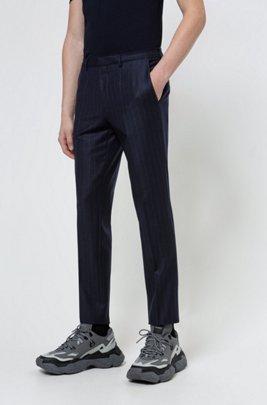 Extra-slim-fit trousers in stretch virgin wool, Dark Blue
