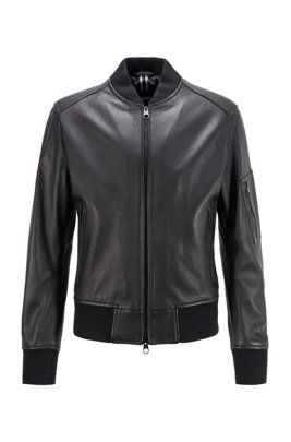 Bomber-style jacket in nappa leather with two-way zip, Black